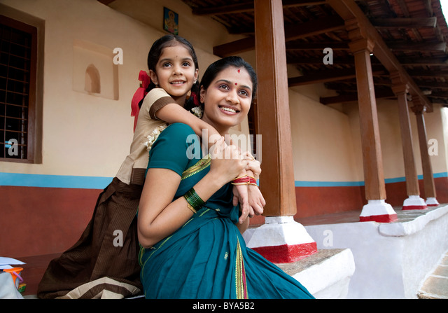 Portrait of a girl and her mother - Stock-Bilder
