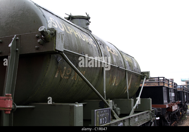 Sulphuric Acid freight train carriage - Stock Image
