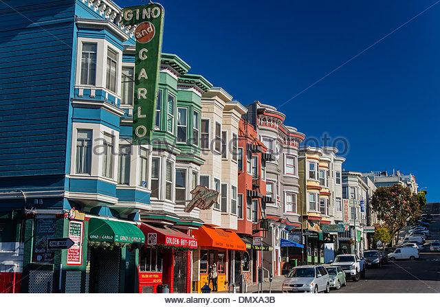 Italian restaurants and cafe in Green Street, Telegraph Hill neighborhood, San Francisco, California, USA - Stock Image