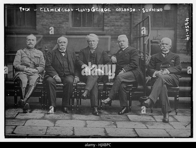 Foch, Clemenceau, Lloyd George, Orlando, Sonnino - Stock Image