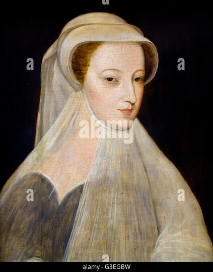 Mary Queen of Scots (1542-1587), portrait in white mourning, probably a 19th century replica after an image of 1561, - Stock Image