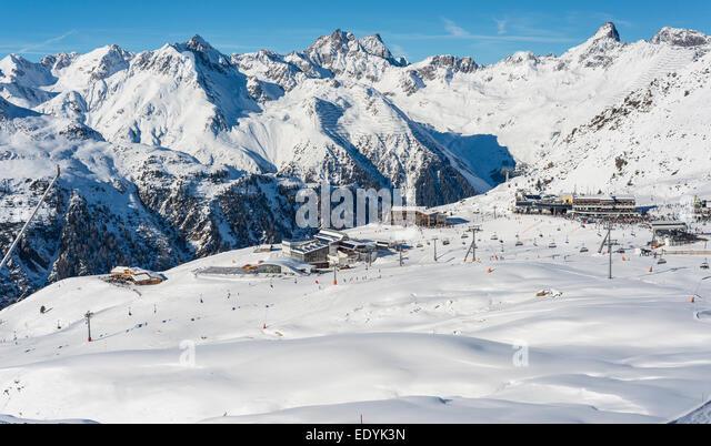Winter sports center Silvretta Arena, Idalp, Ischgl, Paznauntal, Tyrol, Austria - Stock Image