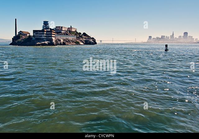 View of Alcatraz and San Francisco Bay - Stock Image