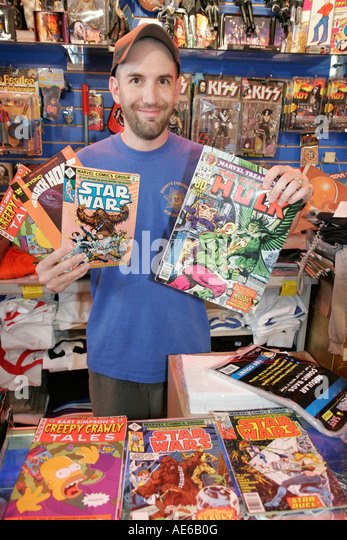 Cleveland Heights Ohio Coventry Village shopping Big Fun Toy Store collectible comic books - Stock Image