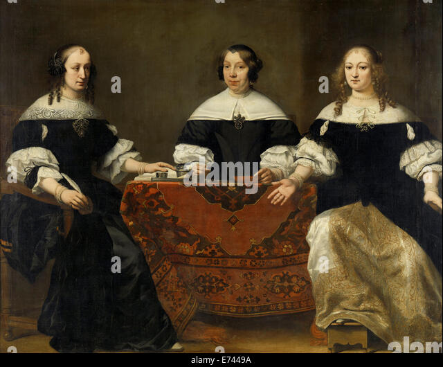 Portrait of the Three Regentesses of the Leprozenhuis, Amsterdam - by Ferdinand Bol, 1668 - Stock Image