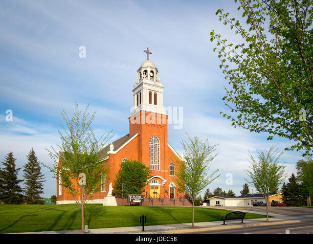 A view of Saint Vital Parish, a Catholic Church in the town of Beaumont, Alberta, Canada. - Stock-Bilder