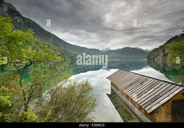 Lake Alpsee in the Bavarian Alps of Germany. - Stock Image