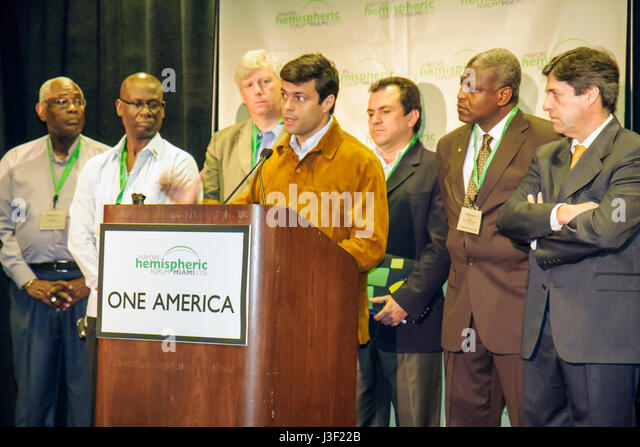 Miami Florida InterContinental Hotel Mayors' Hemispheric Forum press conference North South American Caribbean - Stock Image
