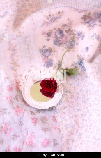 a red rose and a mirror on a vintage bed - Stock Image