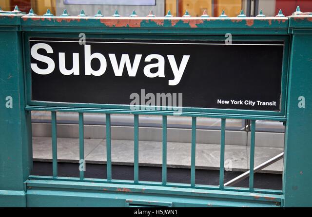 Subway, New York City Transit entrance - Stock Image