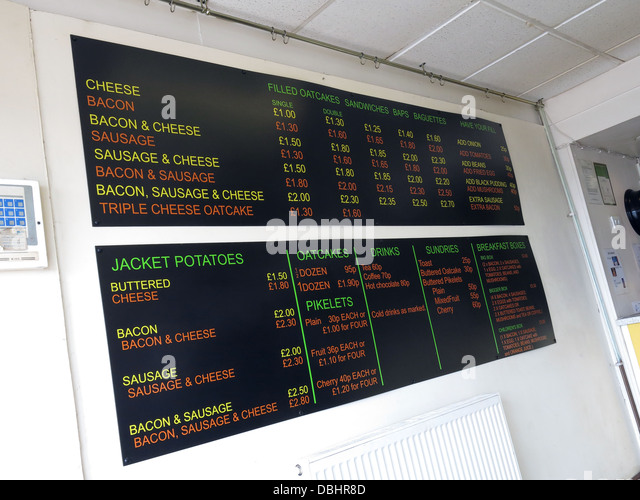 Interior menu of a traditional Stoke / Staffordshire Oatcake shop, with bright yellow frontage. - Stock Image