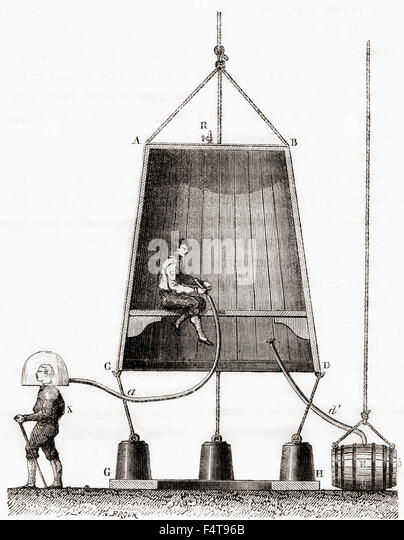 A diving bell built by Halley in 1691.  Edmond or Edmund Halley, 1656 – 1742. English astronomer, geophysicist, - Stock Image