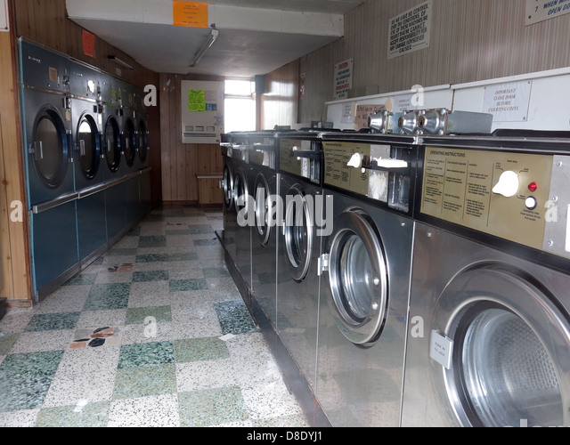 Traditional Launderette clothes wash shop machines, Dry Clean centre, Knutsford rd Grappenhall, Warrington UK - Stock Image