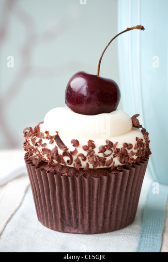 Black forest cupcake - Stock Image