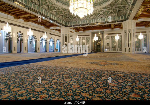 Interior of the prayer area of the Sultan Qaboos Grand Mosque in Muscat, the capital of Oman. - Stock Image