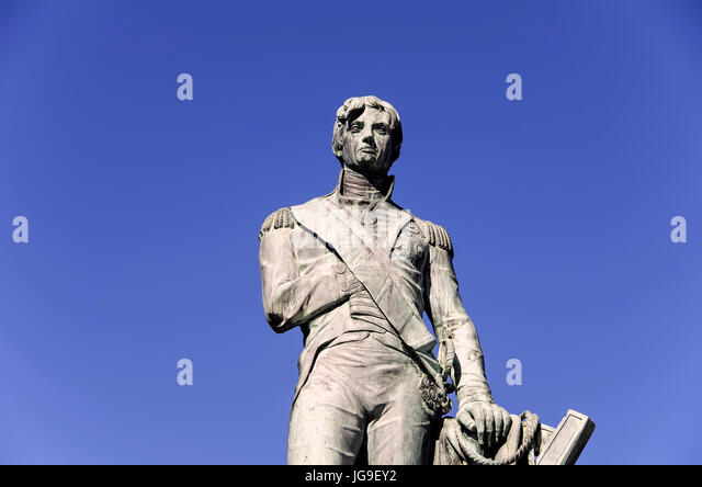 Admiral Lord Horatio Nelson bronze statue in National Heroes Square Bridgetown Barbados. - Stock Image