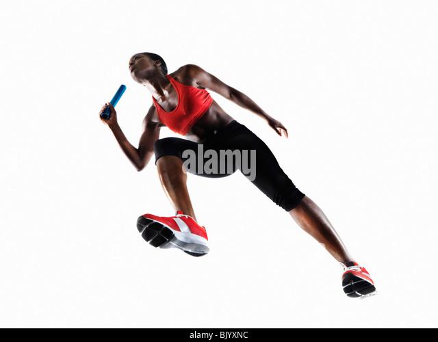 Female athlete preparing to Run - Stock Image