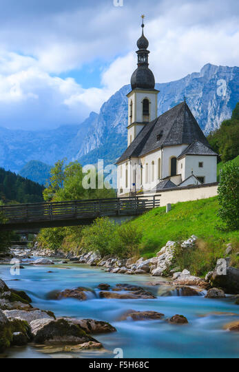 The Church of St. Sebastian in Ramsau near Berchtesgaden, Bavaria, Germany. - Stock Image