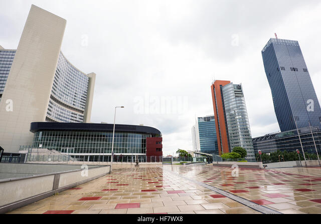 View on financial district with onu buildings and business centres in vienna, austria - Stock Image