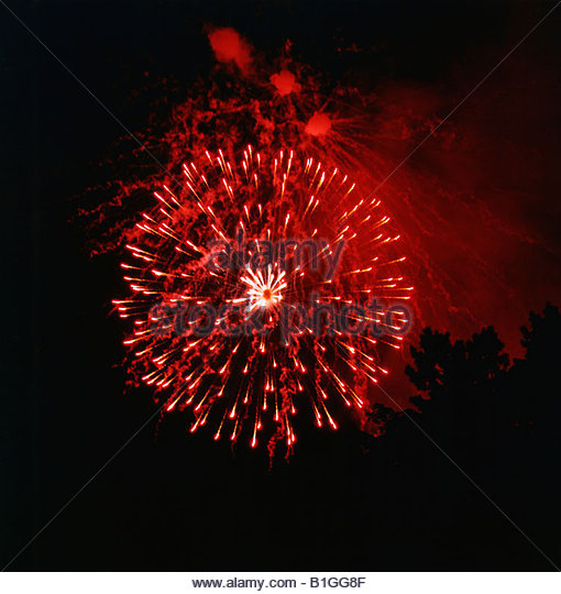 Low angle view of fireworks display at night - Stock-Bilder