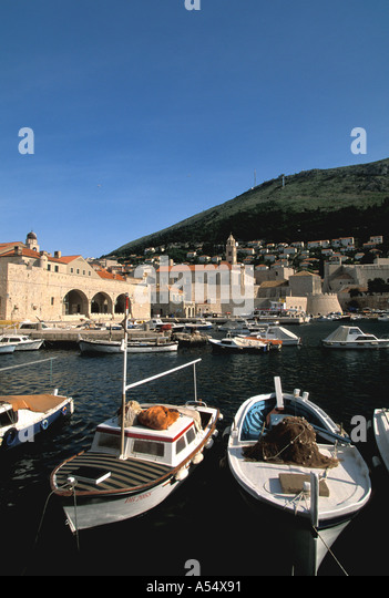 Dubrovnik Coatia Old Town Walled City Harbor and Boats - Stock Image