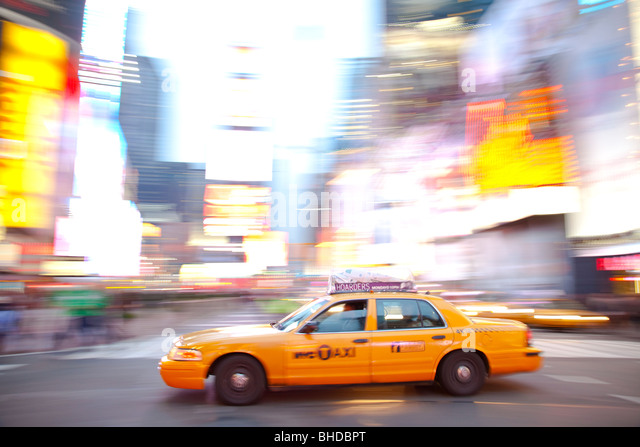 New York Taxis in Times Square - Stock Image