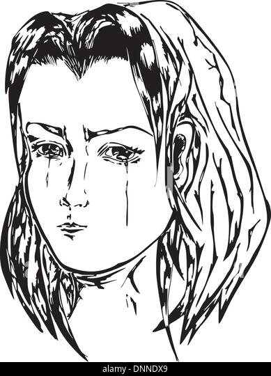 Crying girl. Black and white vector illustration. - Stock Image