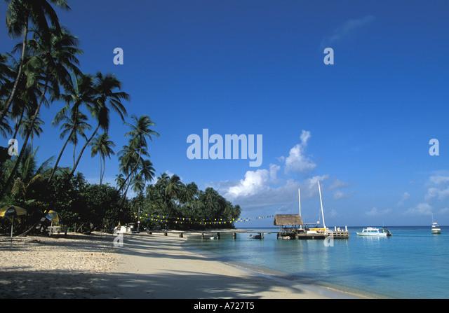 Tobago Caribbean island beach Pigeon Point Heritage Park - Stock Image