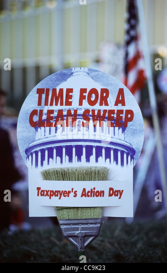 Sign held outside the United States Federal Building in Sacramento, CA during the first annual Taxpayer's Action - Stock Image