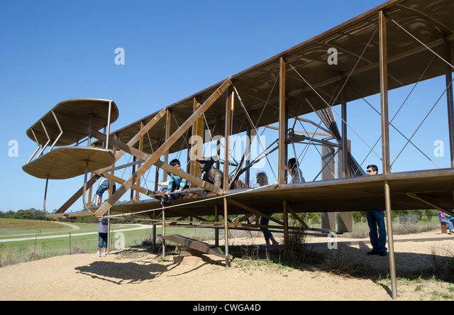 Wright Brothers National Memorial First Flight Interactive Sculpture airplane Kill Devil Hills North Carolina. - Stock Image