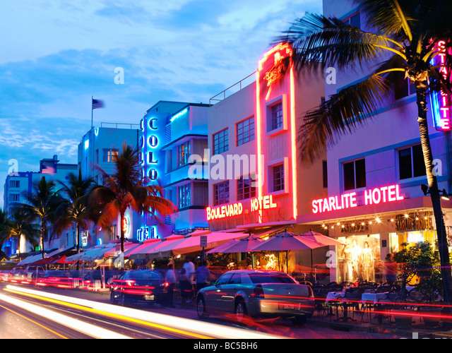 South Beach Miami,restaurants at night on Ocean Drive,Art Deco hotels - Stock Image