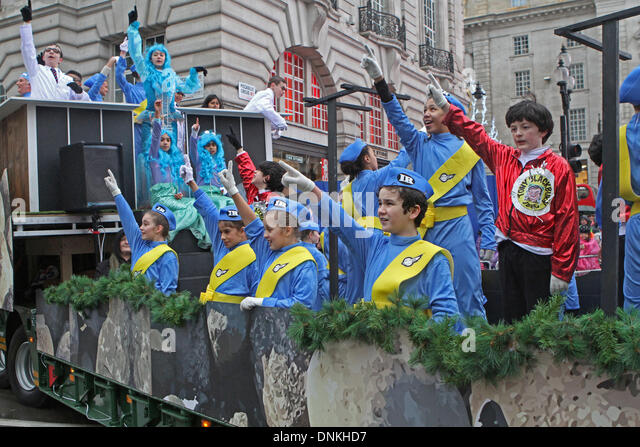 London,UK,1st January 2014,Thunderbirds are go at the London's New Year's Day Parade 2014 Credit: Keith - Stock Image