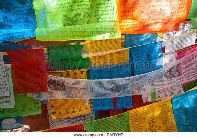 Prayer flags at Portala Place. - Stock-Bilder