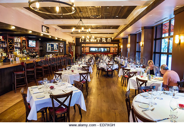 Chicago Illinois River North downtown Centro Ristorante restaurant Italian inside interior empty man woman couple - Stock Image