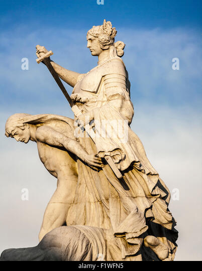 Close up of one of the sculptures on the Monument to Vittorio Emanuele II, Rome, Lazio, Italy. - Stock Image