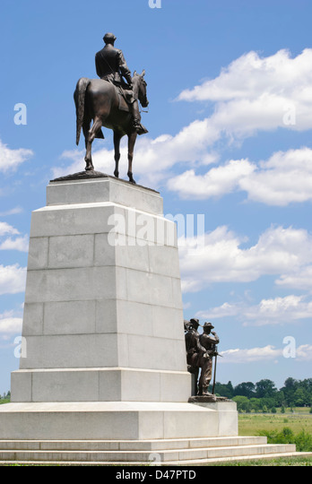 Virginia Monument on the Gettysburg Battlefield, statue of General Robert E. Lee - Stock Image