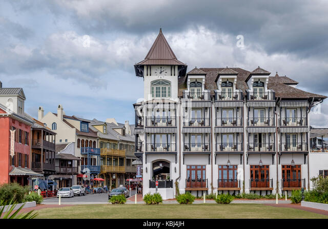 The Pearl Hotel exterior on the Gulf of Mexico in Rosemary Beach, Florida USA. - Stock Image