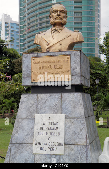 Panama City Panama Parque Urraca park statue bust Miguel Grau gift Peruvian naval officer insurrection against Spain - Stock Image