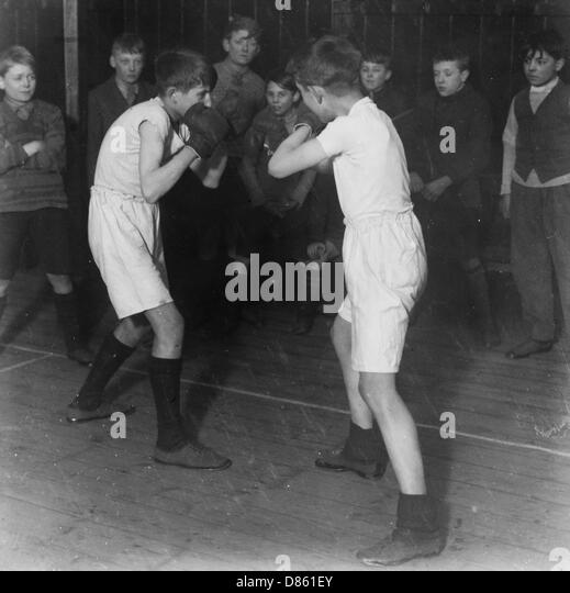 Boys Club Boxing Match  March 1929 - Stock Image