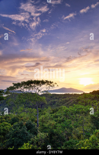 Philippines, Palawan, Port Barton, Elevated view of Albaguen Island and surrounding Islets - Stock Image