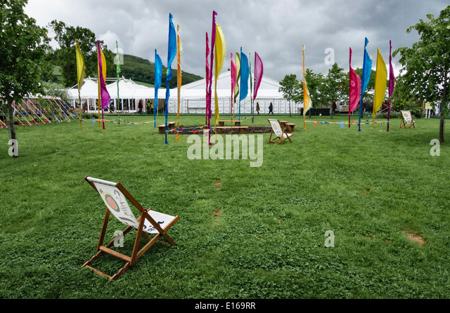 A wet day at the 2014 Hay Festival of Literature - Stock Image