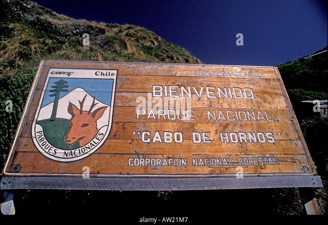 Chile Cape Horn National Park marker sign - Stock Image