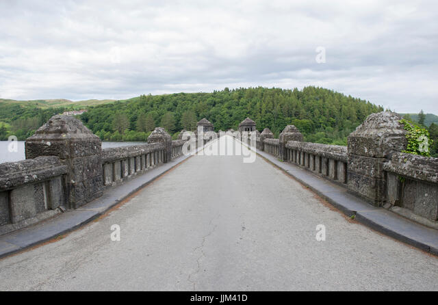 The Lake Vyrnwy Dam & RSPB Nature Reserve in the Berwyn Mountains, Wales, UK - Stock Image