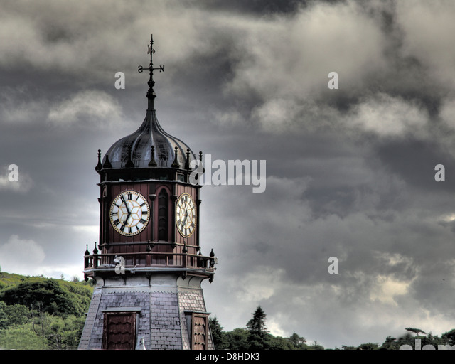 The Clocktower of Stornoway historic town hall, now an arts venue in the isle of Lewis, Outer Hebrides, Highland - Stock Image