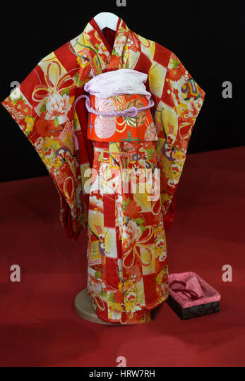 Japanise kimono named Furisode, for a young girl - Stock Image