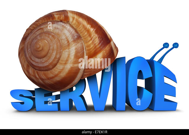 Service Problem concept as three dimensional text shaped as a snail with a shell as a symbol for poor slow customer - Stock Image
