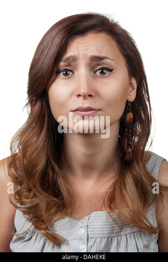 Pity. Emotions woman on a white background - Stock Image