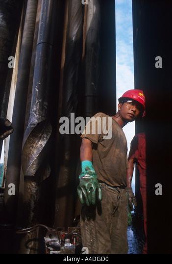 An offshore oil worker, Burma - Stock-Bilder