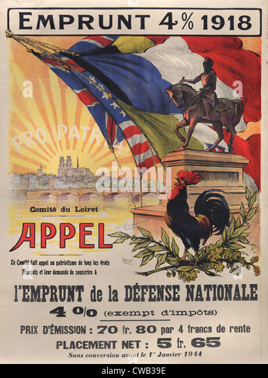 World War I, poster features a statue of a mounted Joan d'Arc, a Gallic cock in the foreground. In the background - Stock-Bilder
