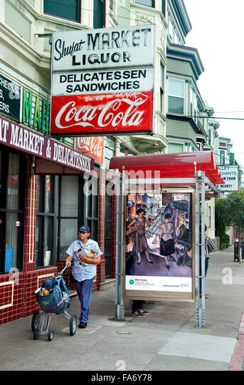 A Millard Sheets painting appears on a bus shelter kiosk in San Francisco during the Art Everywhere event. - Stock Image